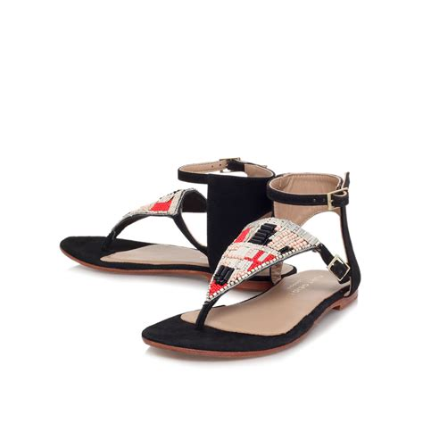 flat embellished sandals kurt geiger sahar flat embellished sandals in black lyst