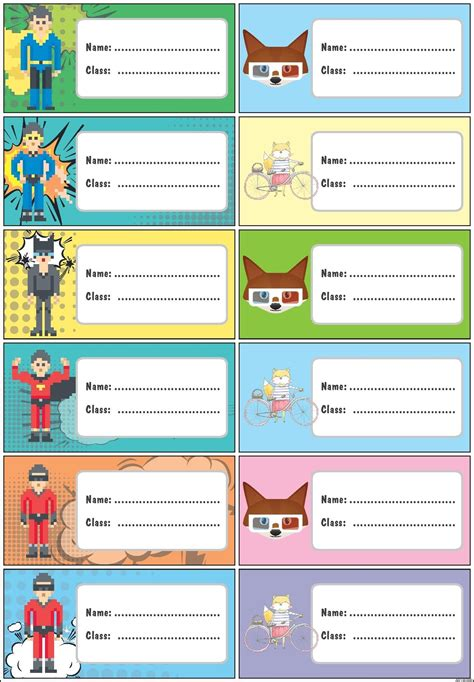 Printable Name Tags For School Books | printable name stickers for school books