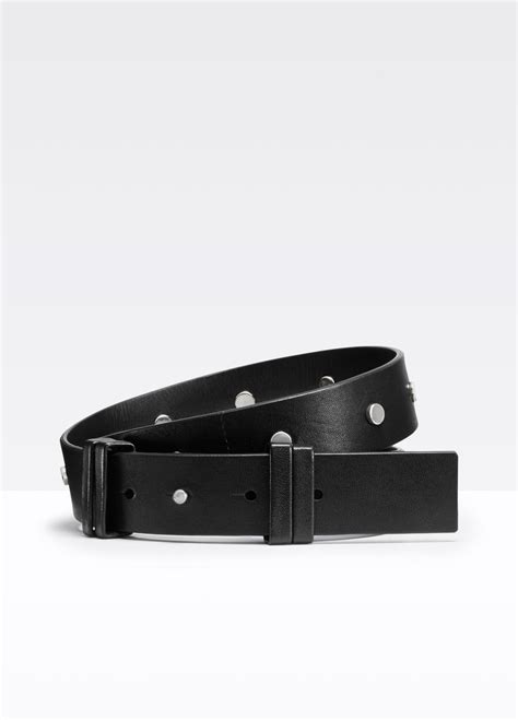 vince studded wide leather belt in black lyst