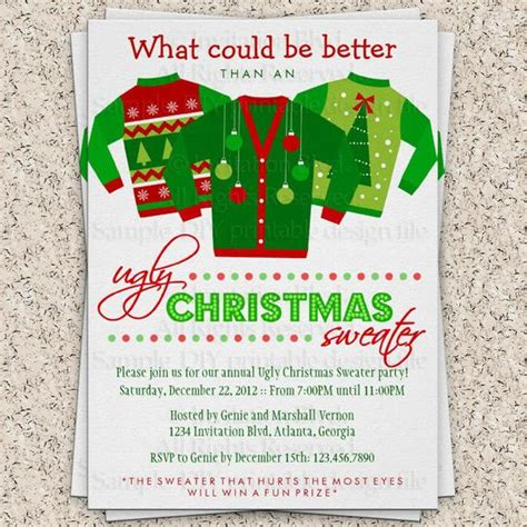 Items Similar To Ugly Christmas Sweater Party Invitation Ugly Sweater Invitation Holiday Sweater Invite Template