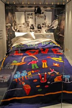beatles bedding yoko ono sees beatles and bed in memorabilia at the new
