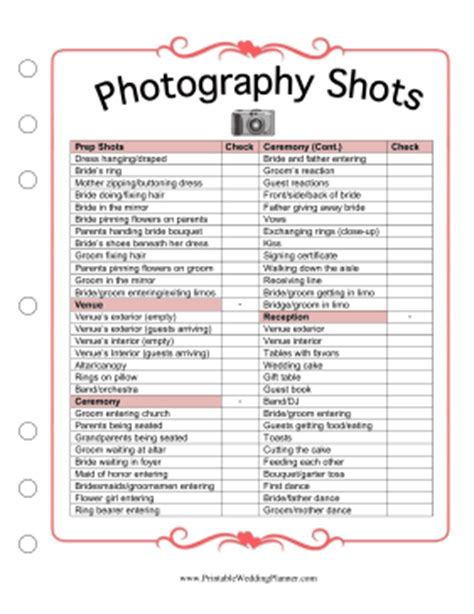 Photography Shots Free Printable Wedding Planner Templates