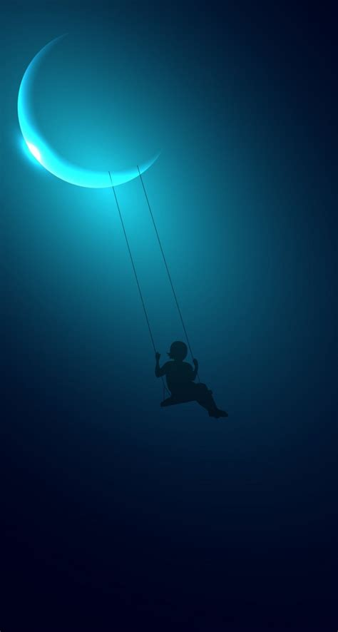 wallpaper for iphone 5 moon download little girl swinging on the moon hd wallpaper for