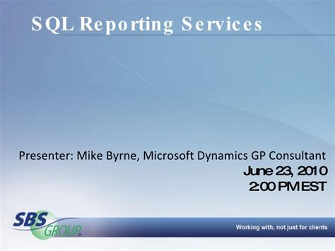 microsoft dynamics gp sql reporting services