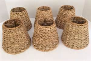 Rattan Chandelier Shades 6 Mini Chandelier L Shades Rattan Wrapped Wicker Clip