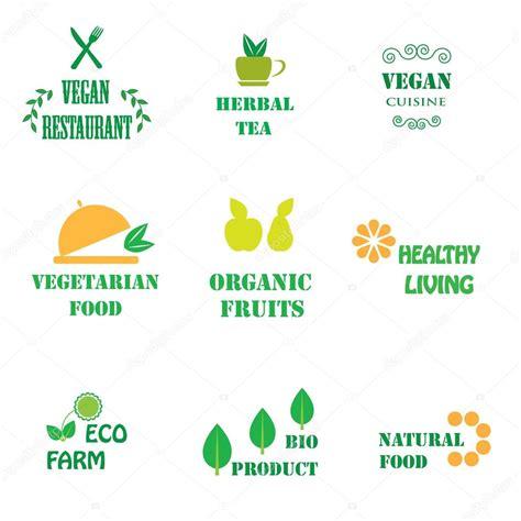 logo per alimenti set di loghi per alimenti biologici e naturali