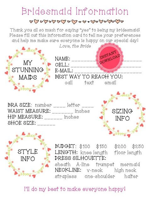 Printable Bridesmaid Information Sheet Bridal Party Planning Wedding Planning Checklist