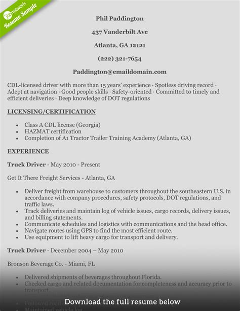 cdl truck driving resume sles how to write a truck driver resume with exles