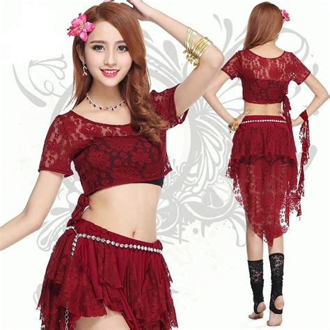 Dress Terusan Set Lindsay Du 4 pieces set belly costume sleeves top lace skirt performance belly