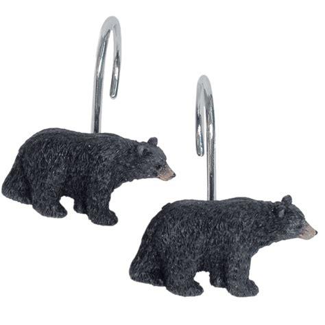 bear shower curtain hooks black bear lodge shower curtain hooks set of 12