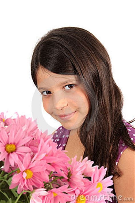 8year oldeer hair pretty eight year old girl with flowers royalty free stock