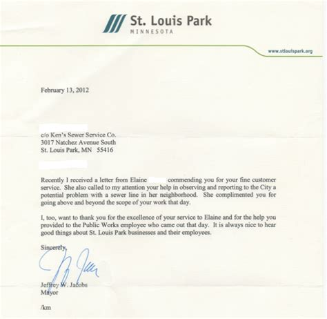 thank you letter after housekeeping st louis park thank you letter from the major