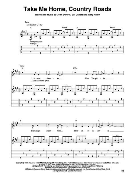 country road testo denver gitarre noten tab audio
