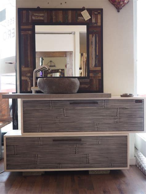 mobile bagno legno mobile bagno in legno e crash bambu con specchiio in legno