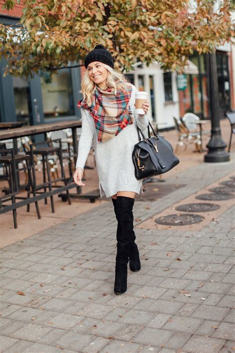 grey sweater dress tartan scarf winter outfit idea