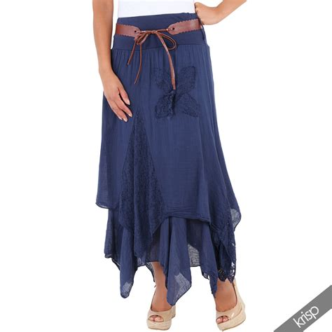womens lace layered hitched maxi skirt a line boho