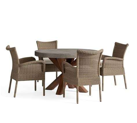 All Weather Wicker Dining Table And Chairs Abbott Table All Weather Wicker Chair Dining Set Pottery Barn