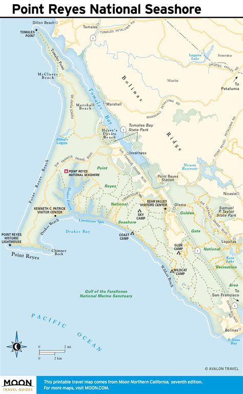 point reyes national seashore map pacific coast route through california point reyes road