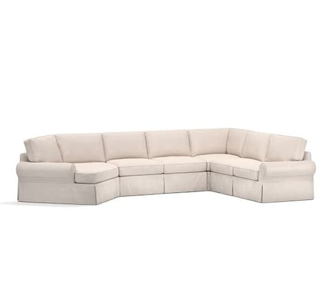 pb basic slipcovered grand 4 angled chaise sectional