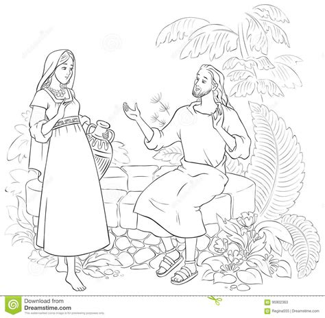 jesus and the samaritan at the well coloring pages jesus and the samaritan at the well stock vector