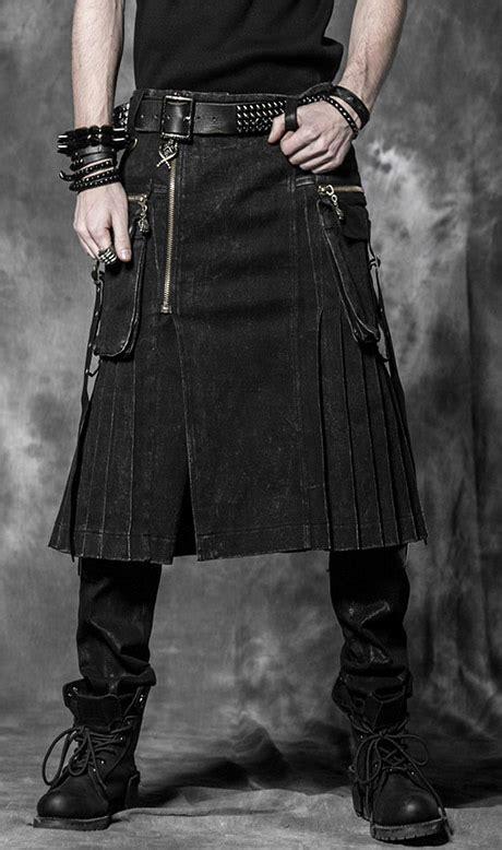 cgv outlaws kilt noir pliss 233 avec grandes poches gothique punk rave