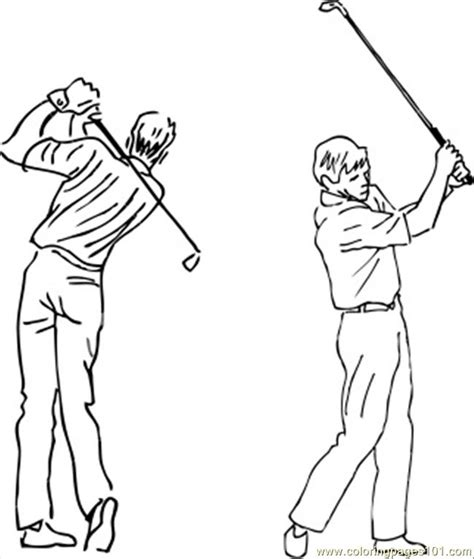 golf draw swing sketch of golf swing coloring pages