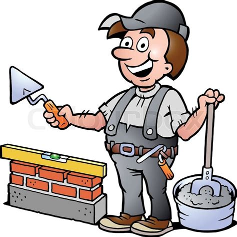 clipart muratore vector illustration of an happy bricklayer