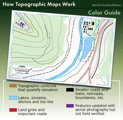 how to read a topographic map topographic map lines colors and symbols topographic map symbols howstuffworks