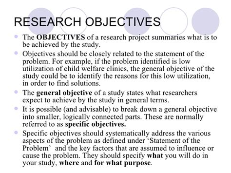 statement of objectives in research research paper objectives