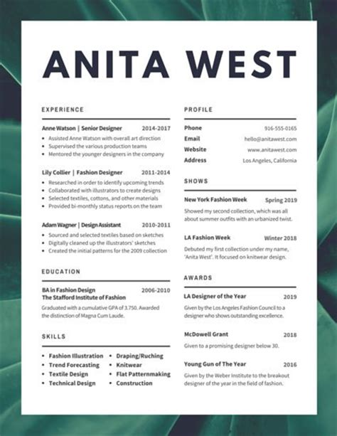 Lush Fashion Designer Resume Templates By Canva Fashion Resume Templates