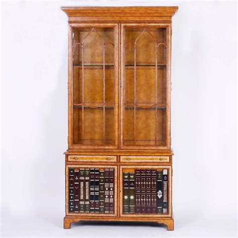 mid century leather covered bookcase or cabinet for sale