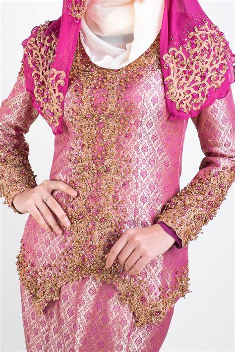 Baju Lace Songket baju kurung moden nikah salomah pink
