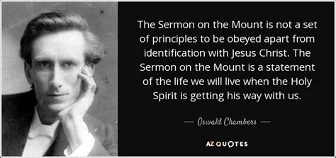 The sermon on the mount is not a set of principles to be obeyed apart