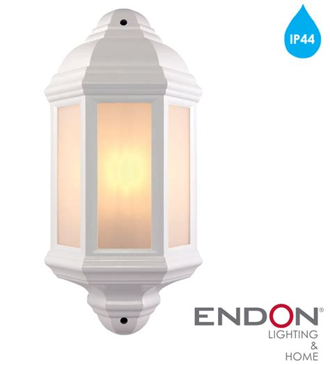 el 40115 halbury pir outdoor wall light automatic endon halbury ip44 half lantern outdoor wall light matt white textured frosted