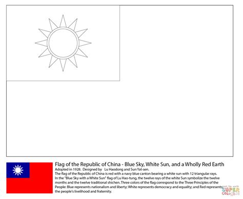 flag of the taiwan coloring page free printable coloring