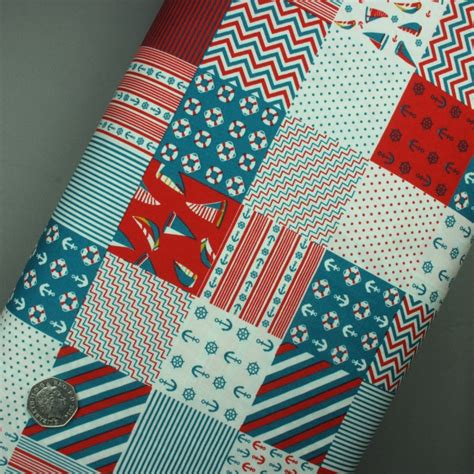 Nautical Patchwork Fabric - nautical patchwork print in teal and on fabric