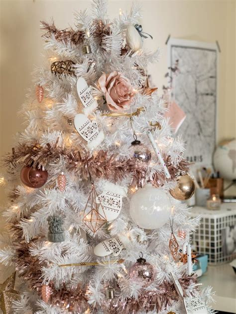 white tree with pink lights white tree with stylish gold and pink