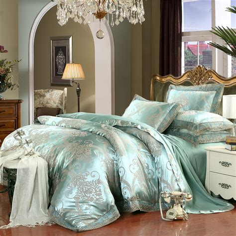 european size bed linen european style bedclothes 4pcs silk cotton green