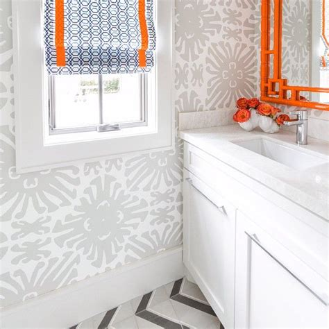 orange and grey bathroom orange and gray floral bathroom wallpaper design ideas