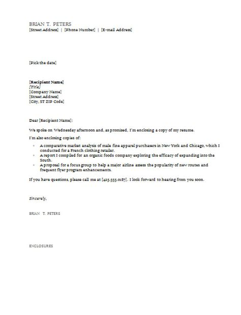 cover letter enclosure line cover letter templates