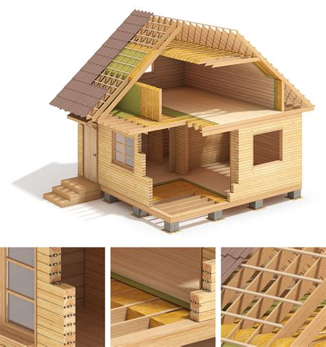 house construction lht wood frame house construction on behance
