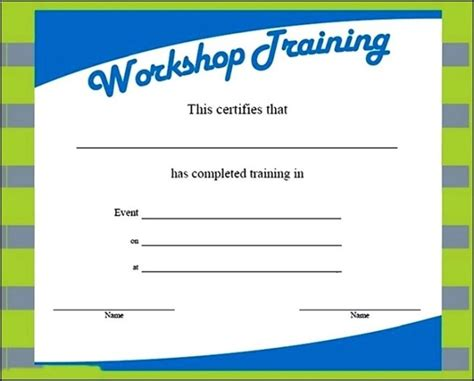 workshop training certificate template sle templates