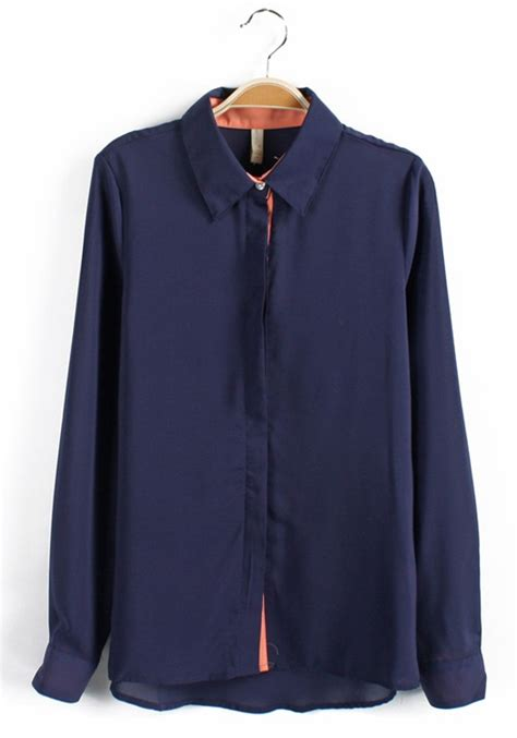 Sleeve Navy Blue Blouse by Navy Blue Patchwork Lappet Buttons Sleeve Chiffon