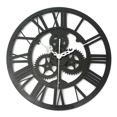 art wall clock vintage wall clock rustic art big gear wooden handmade