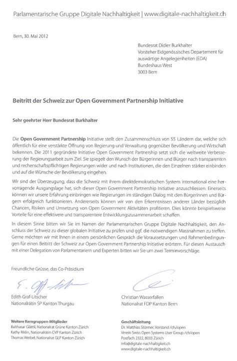 Brief Schweiz Brief An Bundesrat Didier Burkhalter Zur Open Government Partnership Initiative Parldigi