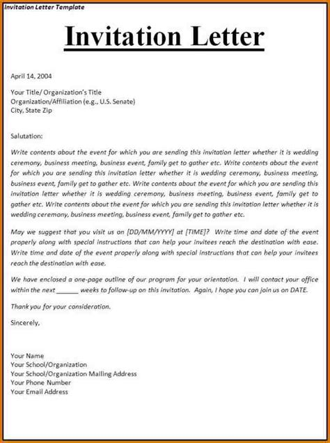 Visa Letter Of Invitation Sle Invitation Letter For Visitor Visa Sop Format Sle