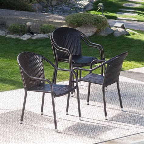stackable outdoor dining chairs coral coast berea outdoor wicker stackable chairs set of