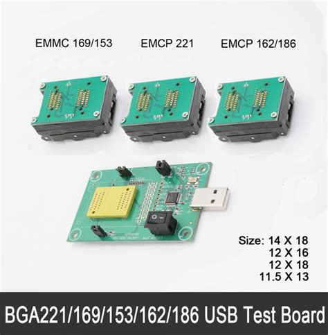 Plat Emmc Bga 5 In 1 emmc emcp 3in1 test socket 11 5x13 12x16 12x18 14x18 emmc programmer adapter reader bga169 153