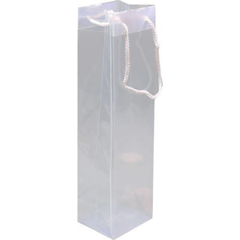 Tas Transparant tas pp met koord 9x10x38cm wijnfles transparant 271182 neutraal geschenken