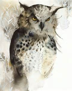 water color owl owl great horned owl archival print of watercolor